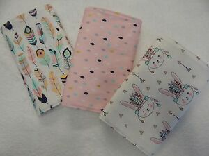 Handmade-Pink-Tribal-Bunnies-Burp-Cloths-x-3-Toweling-Backed-100-Cotton