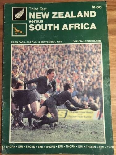 Rugby Programme New Zealand vs South Africa 3rd Test 120981 FREE DELIVERY