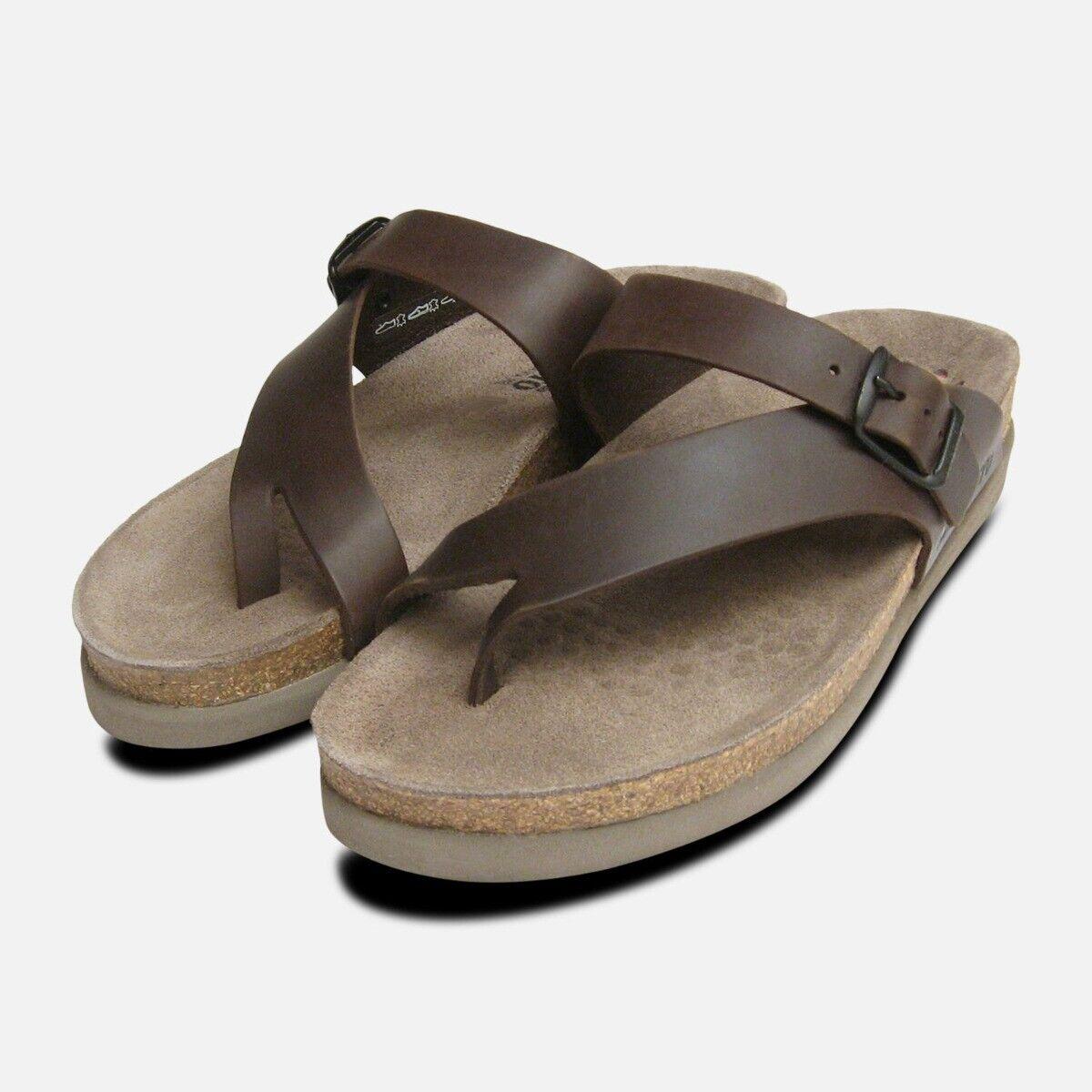 Helen marron foncé Cireuse Sandales en cuir Mephisto chaussures
