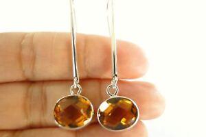 Oval-Yellow-Citrine-Long-Dangle-Drop-925-Sterling-Silver-Earrings