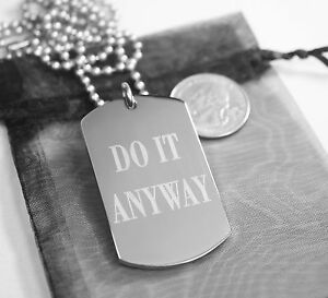 Prayer Necklace Mother Theresa Do It Anyway Dog Tag Stainless Steel
