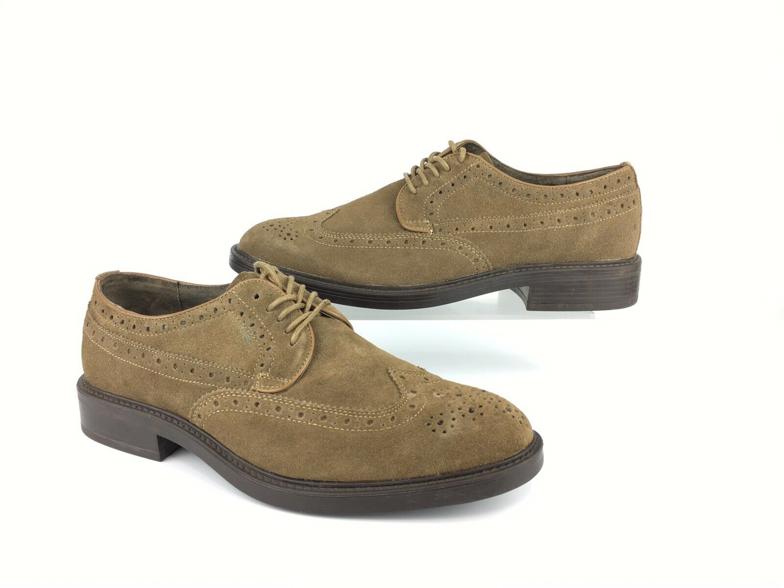 Joseph Abboud Oxford Size 9D Brown Suede Full Brogue Wing Tip Dress Shoes MO22