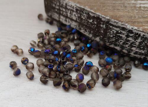 4 mm Azuro Plein cristal gravéTchèque Verre Feu POLONAIS Perles50 perles