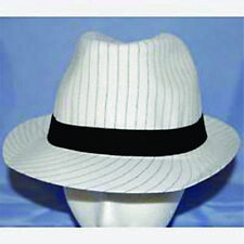 item 6 Roaring 20 s White Pinstripe Fedora Hat Flappers Gangsters Costume  Accessory H1 -Roaring 20 s White Pinstripe Fedora Hat Flappers Gangsters  Costume ... b5f0ecd29d31
