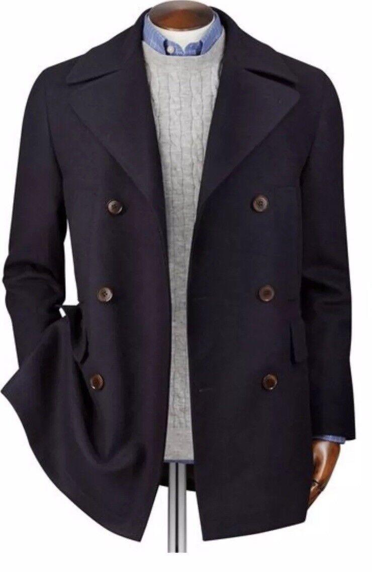 CL2  Charles Tyrwhitt Navy Italian Italian Italian Wool Cashmere Pea Coat Größe 46R   Exquisite (in) Verarbeitung  d9628d