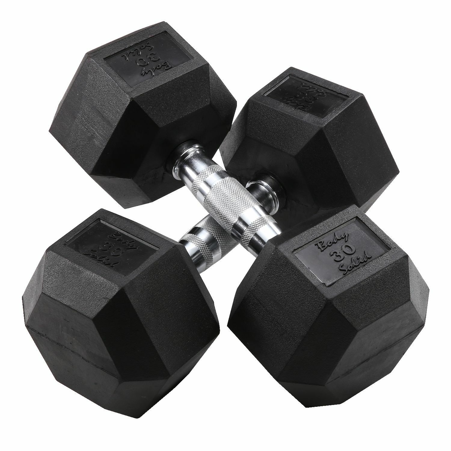 30 lb.  Rubber Coated Dumbbell Pair, Body-Solid SDR30  100% fit guarantee