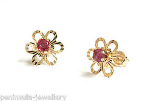 Image Is Loading 9ct Gold Ruby Studs Earrings Gift Boxed Made
