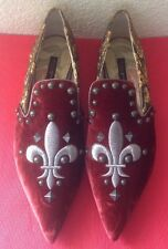 DOLCE & GABBANA WOMANS $2500 VELVET/SILK EMBROIDERED EVENING SHOES SZ.41 USED