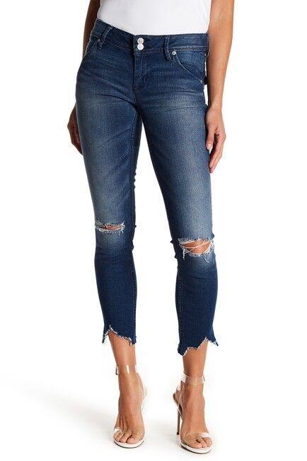 HUDSON Collin Crop Uneven Hem Ripped Skinny Jeans SZ 31 NEW