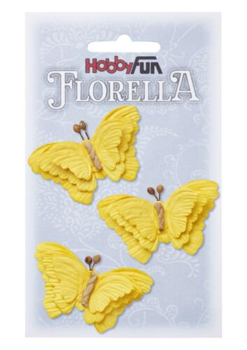 Florella von Hobbyfun 3 Schmetterlinge aus Maulbeerpapier 6 cm