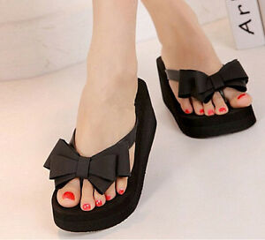 Summer-Flip-Flops-Platform-Thong-Wedge-Beach-Sandals-Bow-Knot-Slippers-Footwears