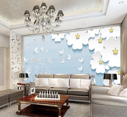 3D Weiß Petals 5006 Wallpaper Murals Wall Print Wallpaper Mural AJ WALL UK Kyra