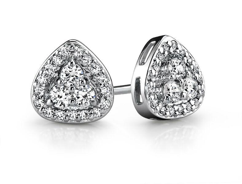NEW 14k WHITE gold TRIANGLE HALO 3 STONE PRONG SET DIAMOND EARRINGS