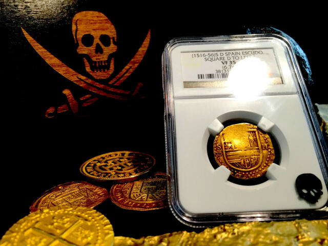 SPAIN 2 ESCUDOS 1516 - 1556 SQ D TO LEFT GOLD COB DOUBLOON NGC 35 COIN! TREASURE
