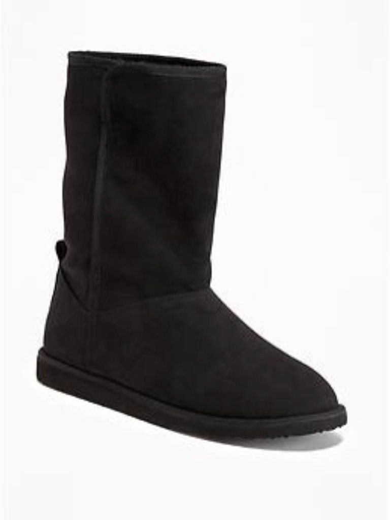 New Old Navy Womens Sherpa Lined Boots Black Mukluks Suede Warm ~ Sz. 8 9 10