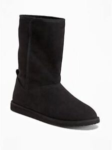 authentic quality most reliable fine craftsmanship Details about New Old Navy Womens Sherpa Lined Boots Black Mukluks Suede  Warm ~ Sz. 8 9 10