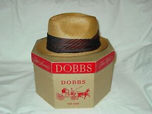 43ca240bf Details about Mens Vintage Dobbs Milan Braid Honey Colored Straw Fedora Hat  Size 7 Cool Band