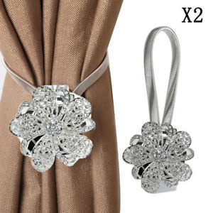 Image Is Loading Pair Of Magnetic Crystal Curtain Tiebacks Tie Backs