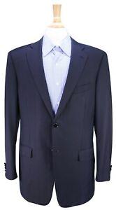 ERMENEGILDO-ZEGNA-Solid-Navy-Blue-w-Silver-Metal-Button-2-Btn-Blazer-40L