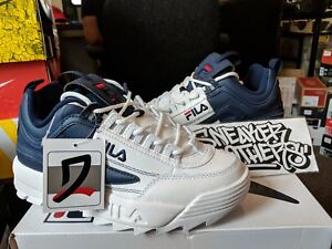 d84c933d314f FILA Women s Disruptor II Premium PRM Split White Navy Blue Red ...