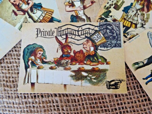 6 Alice in Wonderland Themed Vintage Style Post Cards