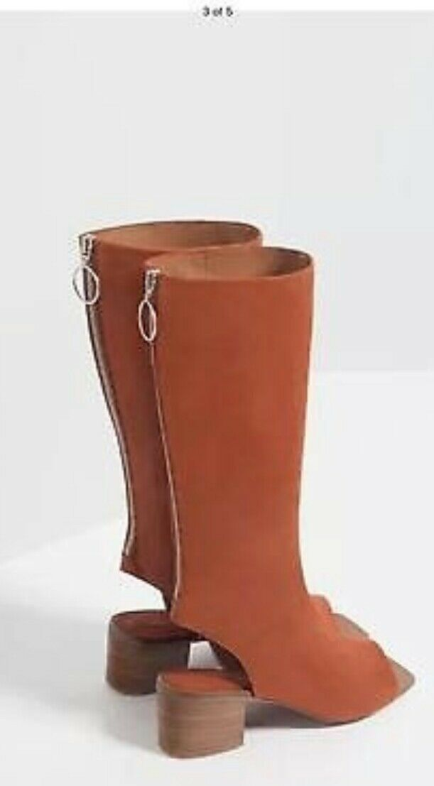 Zara Leather Women's Boot Open Toe in Red Terracotta, 38,New $85.00 Rrp $179.00