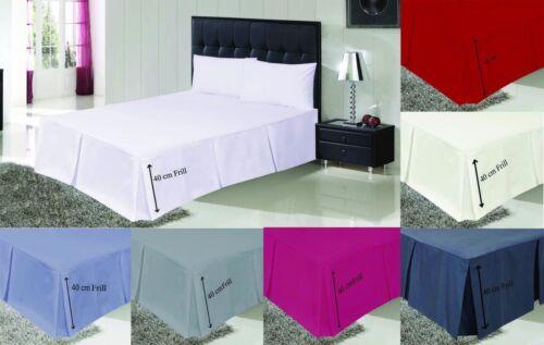 Plain Platform Base Valance Pleated /& Frilled Fitted Valance Sheets /& Pillowcase