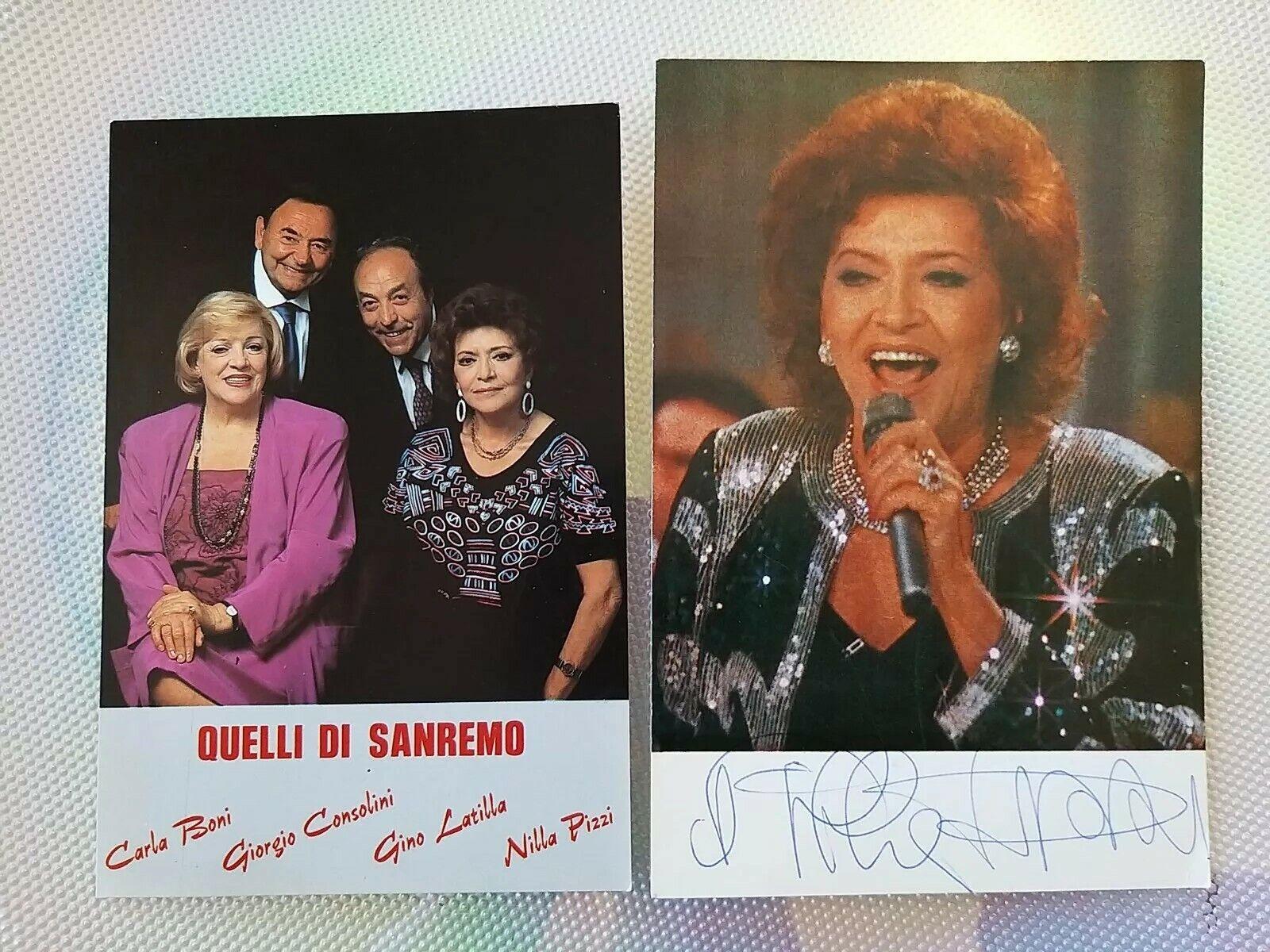 Rarissima 2 Cartoline Quelli di Saremo Nilla Pizzi Autografata Anni 70 da collez