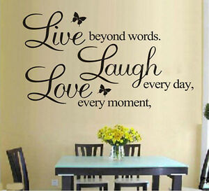 Citation-mot-Live-Laugh-Love-Butterfly-Wall-Stickers-Decal-Vinyle-Home-Room-Decor