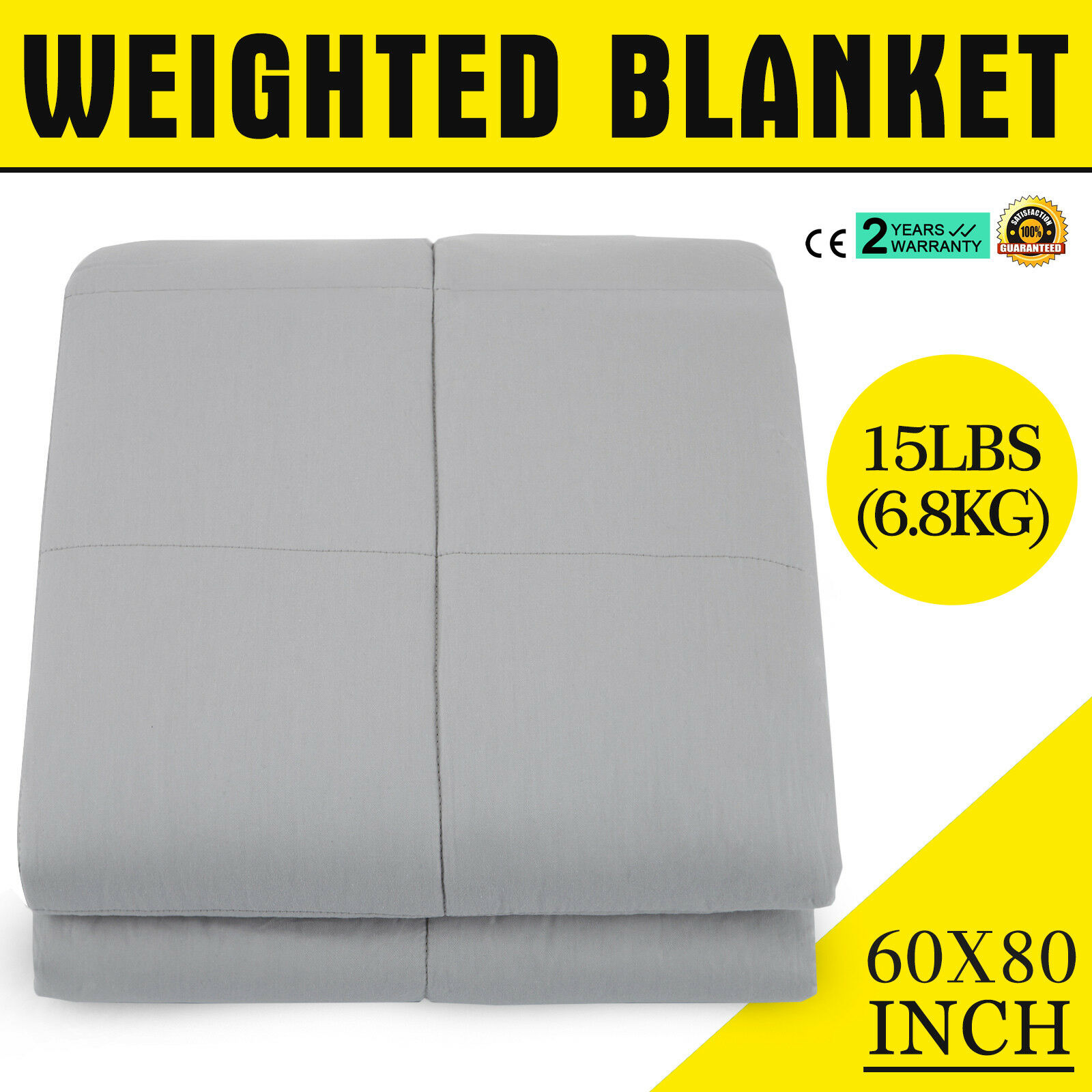 Weighted Gravity Blanket Adult Natural Deep Sleep Reduce Stress 60 'x80  15 lbs