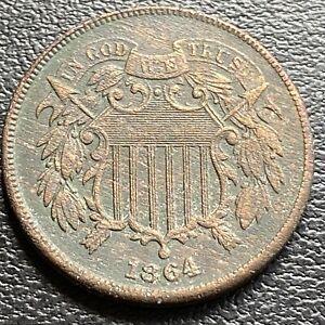 1864 Two Cent Piece 2c High Grade AU Details #29451