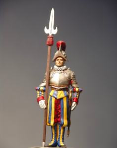 Cabo with armor and halberd Pike 54mm 1 32  Tin Painted Toy Soldier   Art