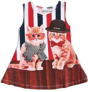 Cotton//Lycra® Baby Girls Frock Size 0000~ 9 VERY Cute Kittie Print