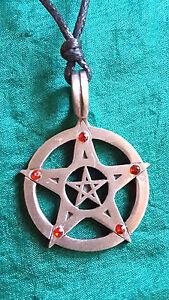 Pentaculo-Colgante-Rojo-Circonita-Cubica-Estrella-Peltre-Lengua-Collar-de-Cordon