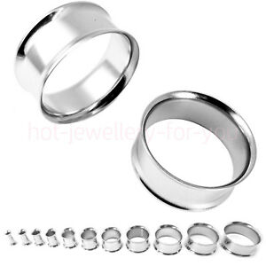 Flesh-Tunnel-Ear-Plug-Double-Flared-Silver-Stainless-Steel-Metal-Lobe-Stretcher