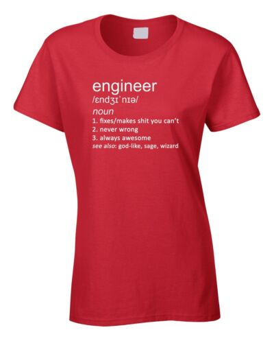 Engineer Women/'s Ladies T-Shirt Funny Gift Joke Definition Civil Job Birthday