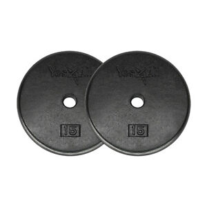 15-Lbs-Weight-Plates-Cast-Iron-Pair-Total-30-Lbs-Standard-1-034-Hole-Weights-Gym