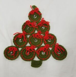 Hand Made Crochet Christmas Tree Door Hanger Jingle Bells Red Bows
