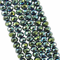 140pcs 6x8mm plated Green Crystal Faceted Abacus Loose Beads Gem S-06