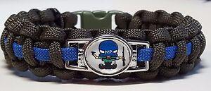 Thin Blue Line Military Police Under Helmet Handmade OD Green Paracord Bracelet