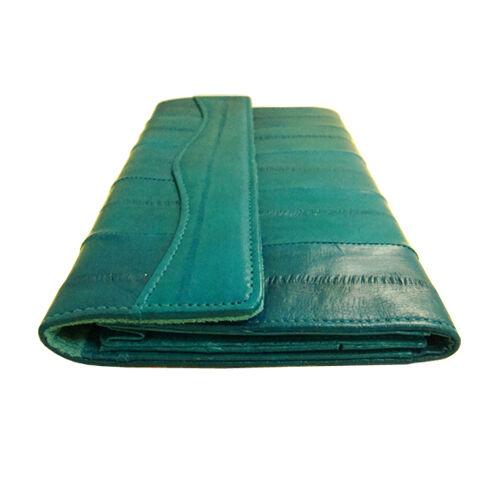 Genuine Eel Skin Leather Wallet Trifold Purse