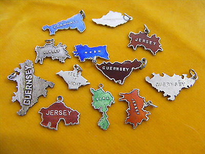 AA VINTAGE STERLING SILVER CHARMS ENAMELLED BRITISH AREA MAPS SOME Thomas L Mott