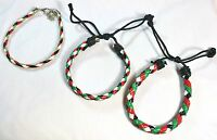 Lot Of 3:palestinian Flag Braided Bracelet Palestine Flag Colors Wristband Abc
