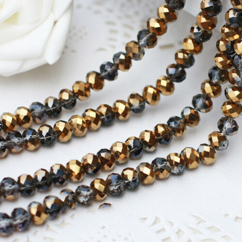 Hot~ 50pcs 4x6mm Rondelle Faceted Austria Crystal Finding Spacer Beads
