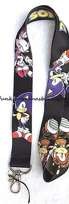 SONIC THE HEDGEHOG & KNUCKLES LANYARD NECK STRAP ID TAG KEYCHAIN HOLDER RETRO