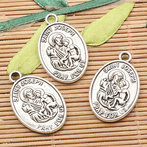 Catholic Patron Saint Holy Medal Tibetan Silver charms Pendant fit bracelet 5pcs