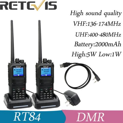 2XRetevis RT84 Ham Amateur Digital//Analog Walkie Talkies VHF+UHF 5W SMS+Cable