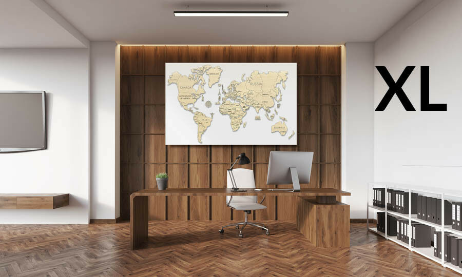 LIVING ROOM WALL DECORATION WORLD MAPS - WOODEN CITY