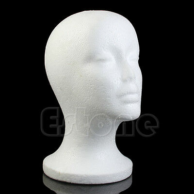 Female Styrofoam Mannequin Manikin Head Foam Model Wig Hair Hat Glasses Display
