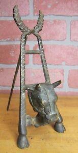 Vtg-Brass-BULL-HEAD-COW-HOOVES-Decorative-Art-EASEL-Frame-Picture-Art-Stand-Farm